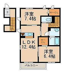 和歌山県和歌山市内原の賃貸アパートの間取り