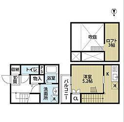 愛知県名古屋市中川区法華2丁目の賃貸アパートの間取り