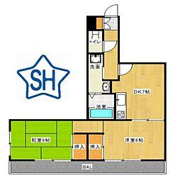 Osaka Metro谷町線 守口駅 徒歩7分の賃貸マンション 1階2DKの間取り