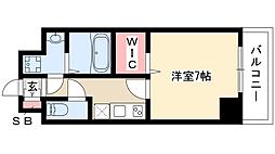 プレイズシード桜山 5階1Kの間取り