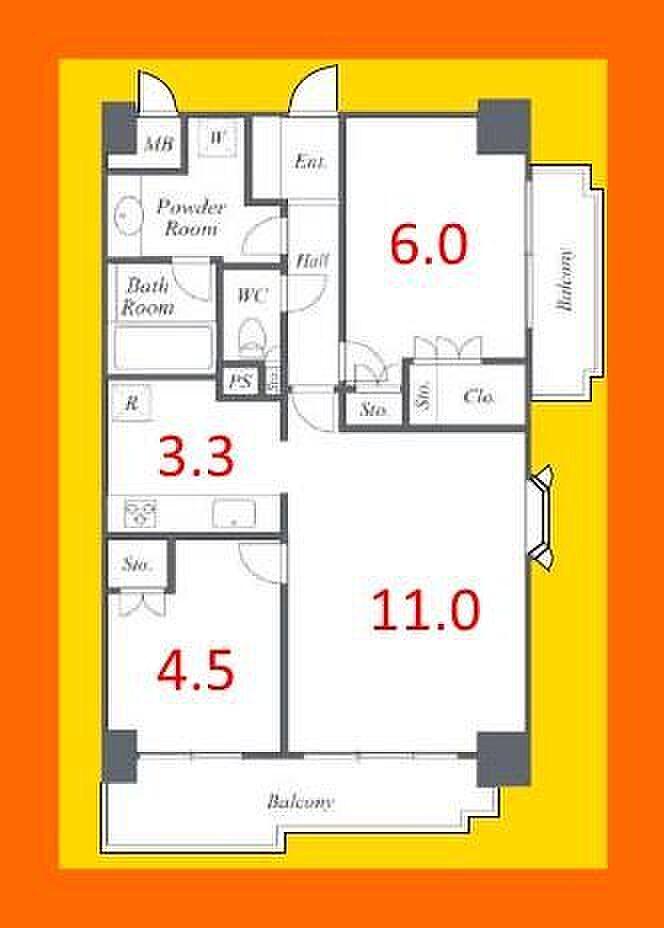 間取り(価格6280万円、2LDK、57.60平米、10階角部屋居室に関して、建築基準法上では一部「納戸」扱いとなる可能性がございます。)