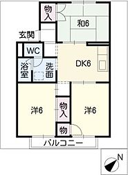 ヘリオ鳥居松[2階]の間取り