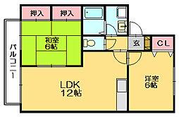 ボンセジュール田代E[1階]の間取り