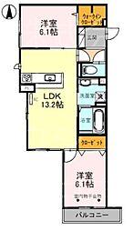 (仮称)D-room熊野町4丁目 2階2LDKの間取り