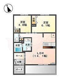 泉北高速鉄道 深井駅 徒歩15分の賃貸アパート 1階2LDKの間取り
