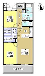 グリーンコート広沢[3階]の間取り