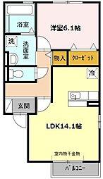 愛知県名古屋市緑区熊の前1丁目の賃貸アパートの間取り