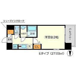 リッツ新大阪 12階1Kの間取り
