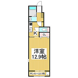 JR篠ノ井線 松本駅 バス20分 松岡下車 徒歩4分の賃貸アパート 1階1Kの間取り