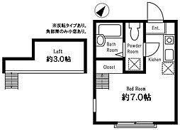 ハーミットクラブハウス岡沢町B棟[102号室]の間取り
