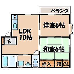 広島県広島市安芸区船越3丁目の賃貸アパートの間取り