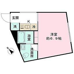 都営三田線 春日駅 徒歩10分の賃貸マンション 5階ワンルームの間取り