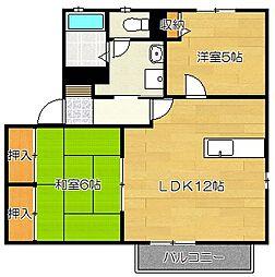 アベニュー栗木B棟[2階]の間取り