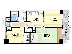 ライオンズマンション千林大宮 3階3DKの間取り