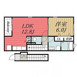 JR総武本線 八街駅 バス8分 文違野下車 徒歩2分の賃貸アパート 2階1LDKの間取り