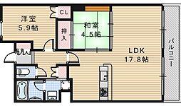 大阪府大阪市阿倍野区阿倍野筋1丁目の賃貸マンションの間取り