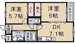 ベルヌーブ森神2[402号室号室]の間取り