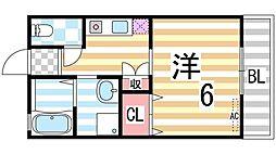 コージィーコート住道[2階]の間取り