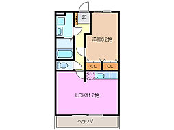 三岐鉄道北勢線 東員駅 徒歩12分の賃貸マンション 2階1LDKの間取り