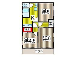 安斉ハイツ[1階]の間取り
