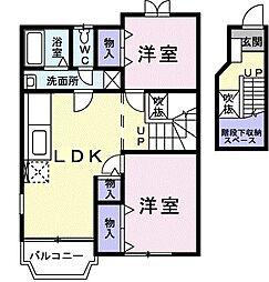 山口県山口市阿知須の賃貸アパートの間取り