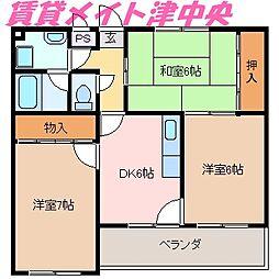 三重県津市美川町の賃貸マンションの間取り