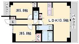 JR播但線 京口駅 徒歩8分の賃貸マンション 3階2LDKの間取り