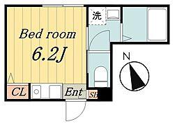 京成本線 千住大橋駅 徒歩7分の賃貸マンション 3階ワンルームの間取り