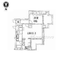 京都市営烏丸線 五条駅 徒歩13分の賃貸マンション 6階1LDKの間取り