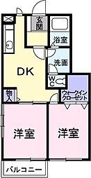 愛知県豊川市谷川町の賃貸アパートの間取り