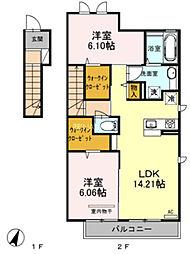 埼玉県上尾市平塚の賃貸アパートの間取り