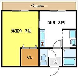 双輪建物第八コーポ[4階]の間取り