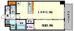 Vert soleil真田山(ヴェールソレイユサナダヤマ) 5階1LDKの間取り