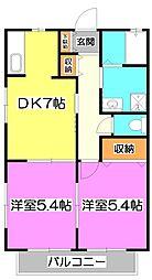 埼玉県志木市中宗岡2丁目の賃貸アパートの間取り
