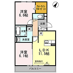 愛知県安城市横山町大山田中の賃貸アパートの間取り