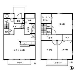 [テラスハウス] 石川県金沢市大額1丁目 の賃貸【/】の間取り