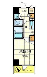 スパシエ エル・ヴィエント・アース板橋タワー 3階1Kの間取り