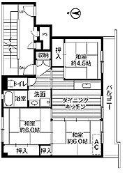ビレッジハウス中央1号棟 3階3DKの間取り