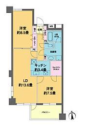 京急本線 泉岳寺駅 徒歩1分の賃貸マンション 4階2LDKの間取り