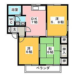 ディアコート蔵子 F棟[2階]の間取り