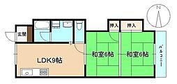 みのうコーポ[3階]の間取り