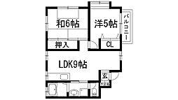 兵庫県川西市大和西2丁目の賃貸マンションの間取り