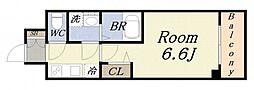 エスリード阿波座レジデンス 7階1Kの間取り