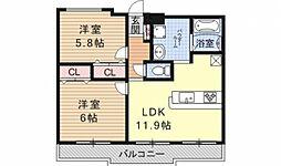 ガーデンシティ柳ヶ崎[102号室号室]の間取り