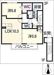 レクシオン神守B棟[2階]の間取り