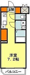 東急田園都市線 たまプラーザ駅 徒歩15分の賃貸マンション 1階ワンルームの間取り