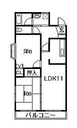 千葉県船橋市東中山2丁目の賃貸マンションの間取り