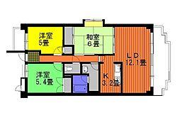 愛知県安城市東栄町4丁目の賃貸マンションの間取り