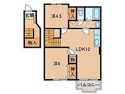 和歌山県橋本市向副の賃貸アパートの間取り