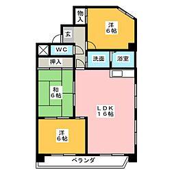 愛知県名古屋市名東区八前2丁目の賃貸マンションの間取り